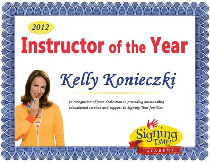 Signing Time Academy Instructor of the Year, 2012: Kelly Konieczki - Momcat's Signing Academy - The Purrfect way to enhance communication with your little one! www.momcats-signing-academy.com